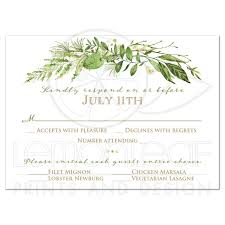 wedding response card greenery foliage wedding response card watercolor leaves stems