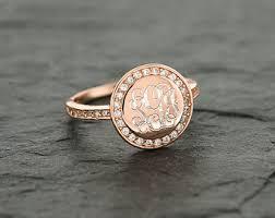 Monogram Ring Gold Cz Monogram Ring