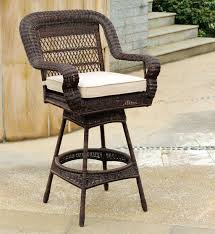 Swivel Wicker Patio Furniture by South Sea Rattan Montego Bay Wicker Cushion Arm Swivel Bar Stool