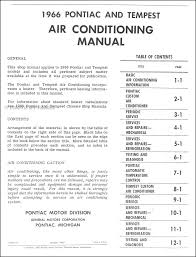 1966 pontiac air conditioning repair shop manual original
