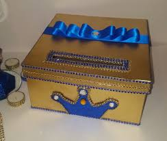 Blue And Gold Baby Shower Decorations by Royal Prince Card Box Gold Card Box Blue Card Box Crown Card Box