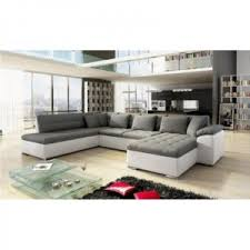 meublesline canapé d angle en u alia gris et blanc gris blanc