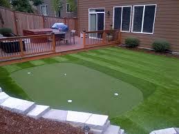trek deck turf grass fire pit and golf putting green we