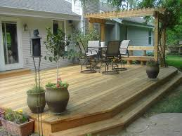 decor backyard deck ideas with outdoor dining set and pergola