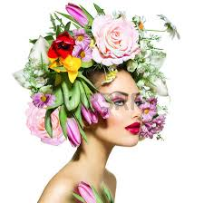 flower hair beauty girl with flowers hair style stock photo picture