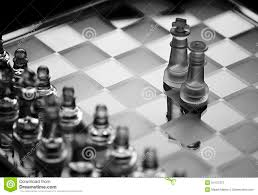 Glass Chess Boards Glass Chess Game King With Queen Chess Pieces Bw Stock Photo