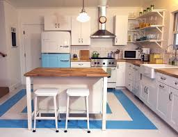 Paint Metal Kitchen Cabinets Kitchen Retro Linoleum Flooring Retro Stove Frigidaire Retro