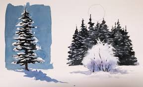 how to watercolor paint realistic snowy trees busheswatercolor