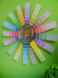 make a paint chip starburst mirror style with a smile