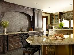 Dark Kitchen Cabinets With Backsplash Beige Cabinets And White Granite Genuine Home Design