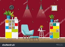 illustration interior equipment modern living room stock vector