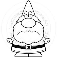 cartoon gnome man angry black and white line art by cory thoman