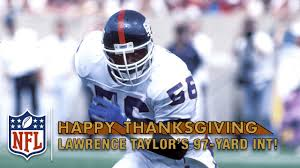 lions thanksgiving schedule lawrence taylor speeds down sideline for a 97 yard pick six vs