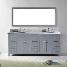 virtu usa caroline parkway 78 inch grey double bathroom vanity set