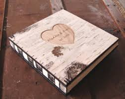 unique wedding albums custom engraved birch wedding photo album or photo guestbook