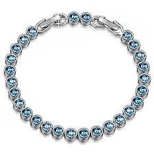blue crystal bracelet swarovski images Tbargains ladycolour blue aquamarine tennis bracelets swarovski jpg