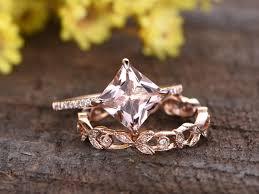 princess cut wedding set 1 to 1 5 carat princess cut morganite gold wedding set