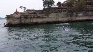 how big is table rock lake tyler jumps off the cliff at table rock lake into the water youtube