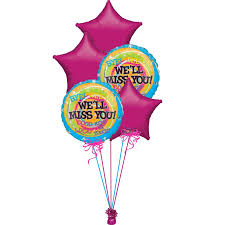 balloon boquet delivery well miss you helium filled balloon bouquet delivery