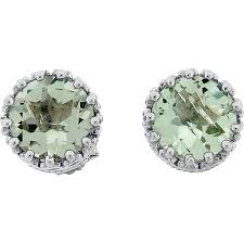 green stud earrings meredith leigh sterling silver crown set green amethyst stud