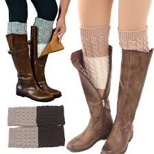 womens knit boots 2016 s two tone reversible boot cuff cable knit