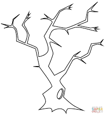 bare tree with hollow coloring page free printable coloring pages