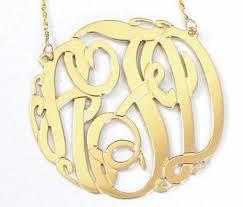 Monagram Necklace 14k Gold Monogram Necklace Big Slim Be Monogrammed