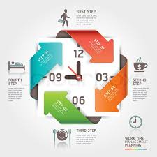 time design planner abstract arrow work time management planning infographics template