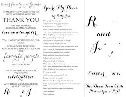 in memory of wedding program program outline with format to go by wedding