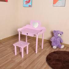 Pink Vanity Table Foxhunter Dressing Table Stool Set Makeup Vanity Mirror