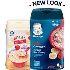 gerber lil u0027 bits oatmeal banana strawberry baby cereal 8 ounce