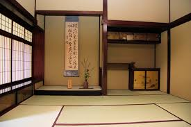 elegant japanese house design with dark brown color of the