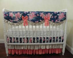 Navy And Coral Crib Bedding Coral Bedding Etsy