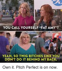 Fat Amy Memes - omedy you call yourself fat amy yeah so twig bitches like you don