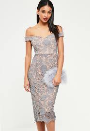 lace dresses grey bardot lace midi dress missguided