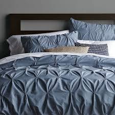 West Elm Organic Duvet From West Elm Steel Blue Pin Tuck Bedding I Love This Bedding