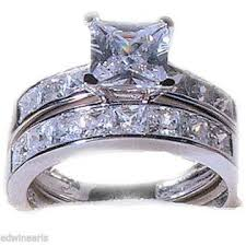 stainless steel wedding ring sets edwin earls princess cut wedding engagement ring set womens