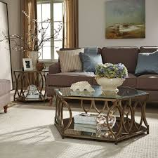 standard furniture santa barbara hexagonal glass top end table w