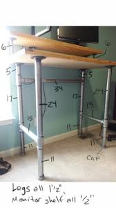 pipe and plank standing desk pipes desks and pipe furniture