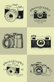 vintage camera icons collection black white sketch free vector in