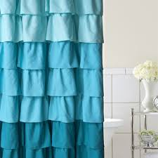 Teal Ruffle Shower Curtain by Blue Ruffle Shower Curtain Curtains Ideas