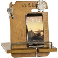 Charging Station Nightstand by Personalized Wood Phone Docking Station Organizer