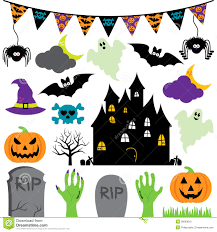 vector halloween set with scary and cute elements royalty free