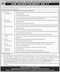 Database Engineer Jobs Jobs In Lady Reading Hospital Peshawar 01 Mar 2017