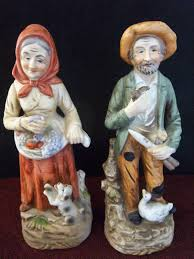 Home Interior Porcelain Figurines by Homco Porcelain Old Man U0026 Woman Farmer Figurine From Home Interior