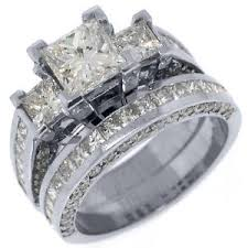 square engagement rings with band 3 5 carat engagement ring wedding band set square 3