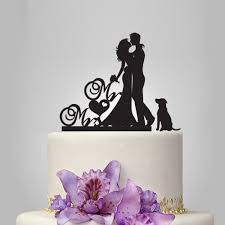 cake topper with dog and groom silhouette wedding cake topper dog cake topper