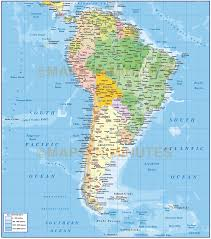 South America Map by Digital Vector South America Political Map With Sea Contours