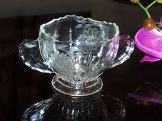 Hughes Cornflower Crystal Cordials Hughes Cornflower Candlewick Heart Shaped Bonbon Dish Bonbon