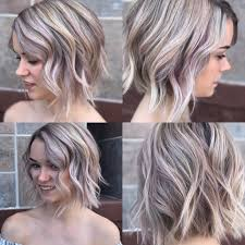 women u0027s textured wavy bob on ashy blonde hair with rose gold